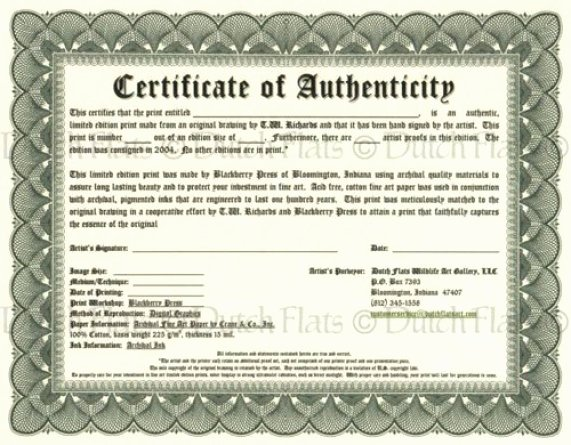 Certificate Authenticity Templates Word Excel Samples