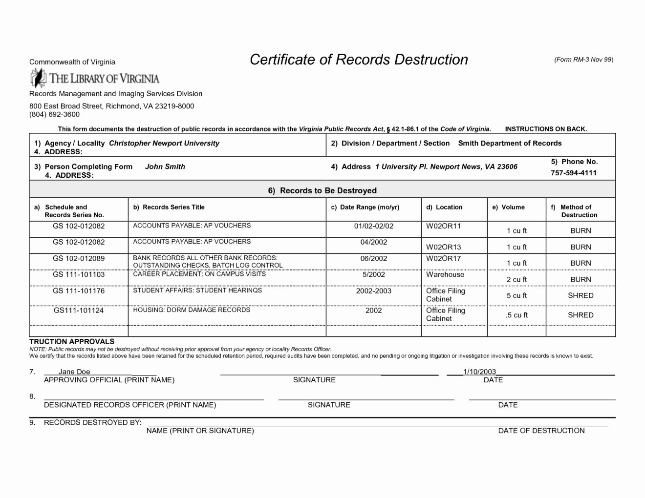 Certificate Data Destruction form
