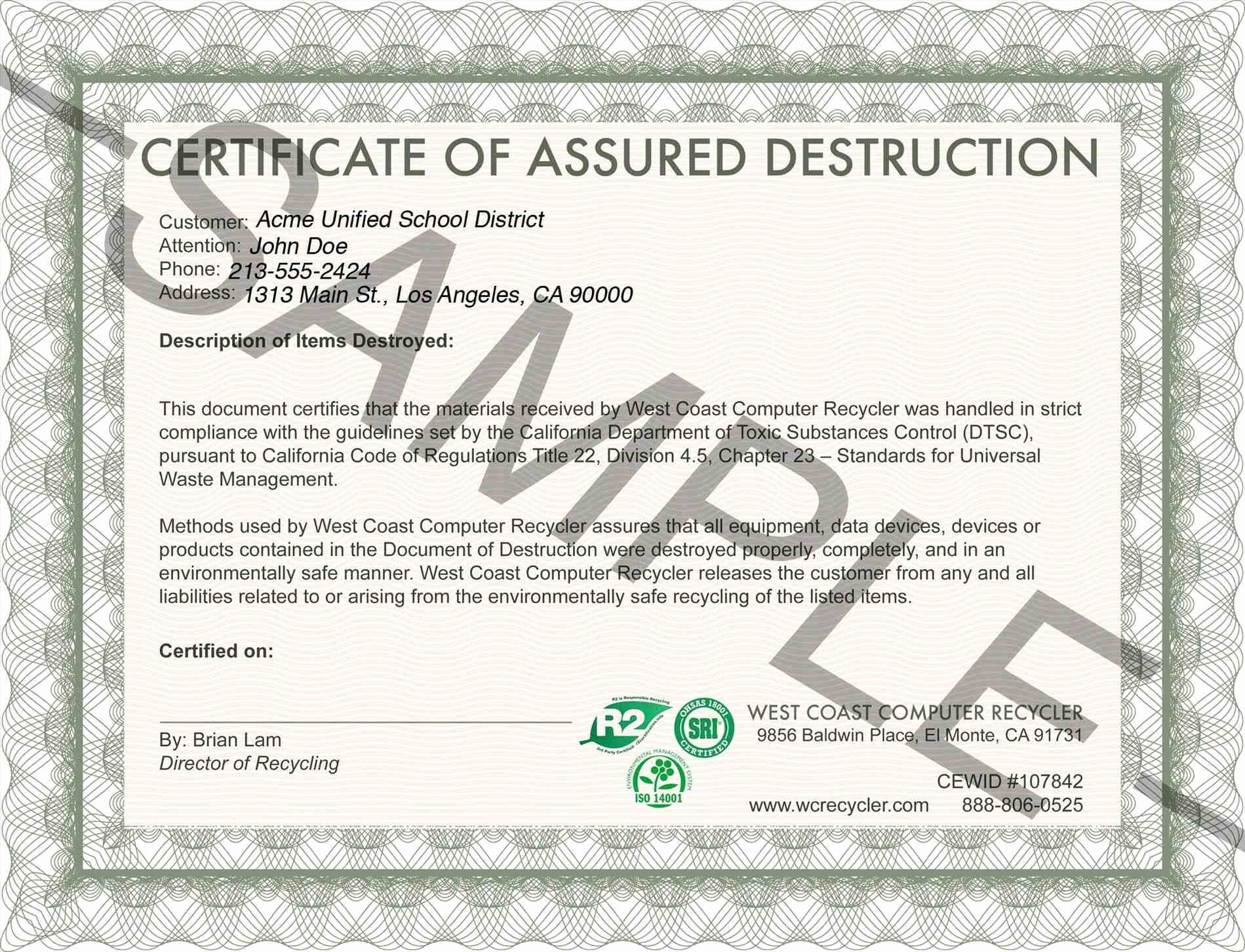 Certificate Destruction form