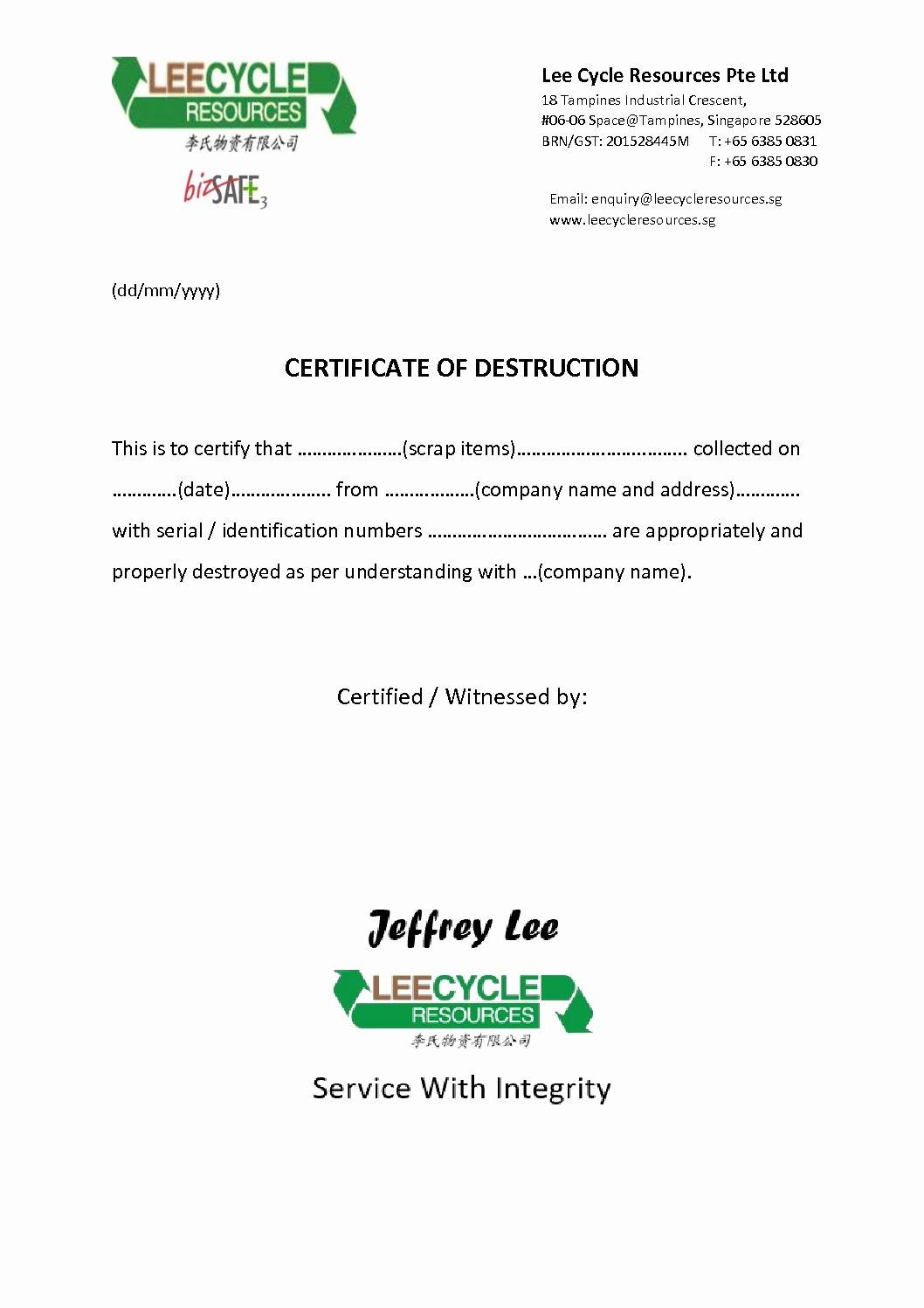 Certificate Destruction Leecycle Resources Singapore