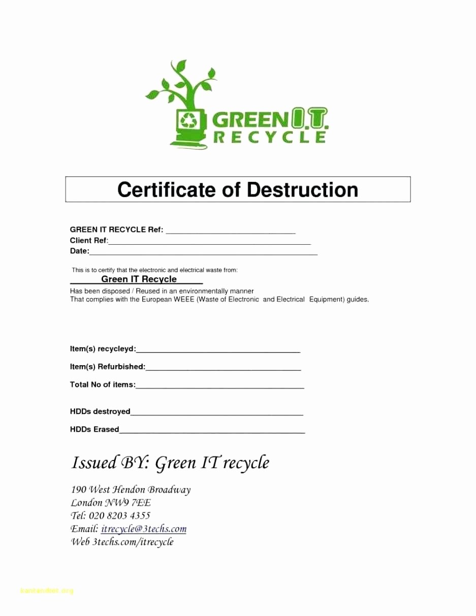 Certificate Destruction Template