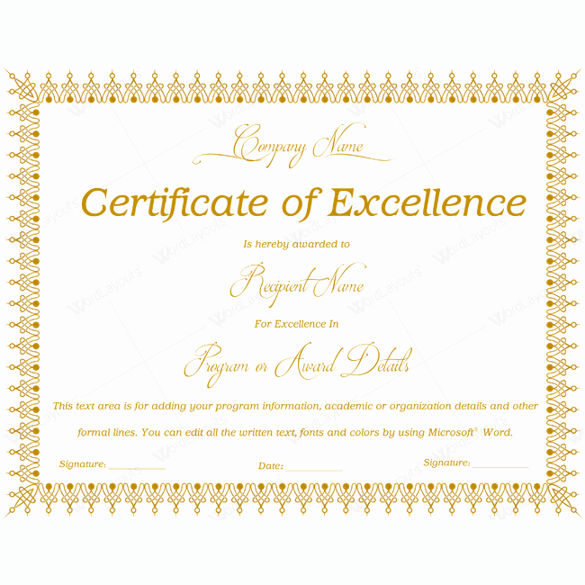 Certificate Excellence 06 Word Layouts