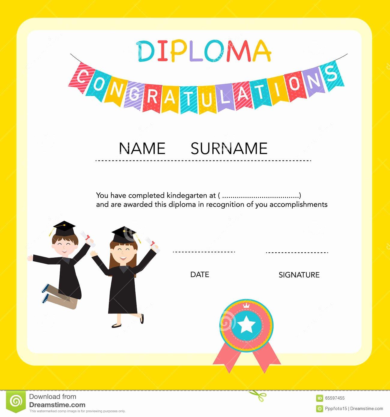 Certificate Kids Diploma Preschool Kindergarten