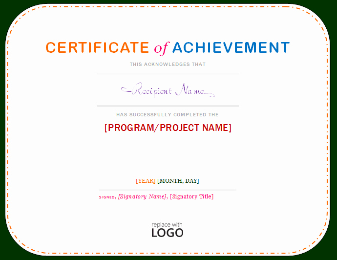 Certificate Of Achievement Template Microsoft Word Templates