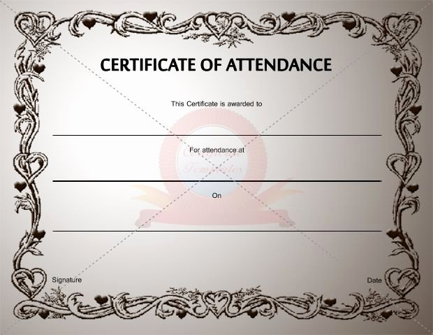 Certificate Of attendance Template