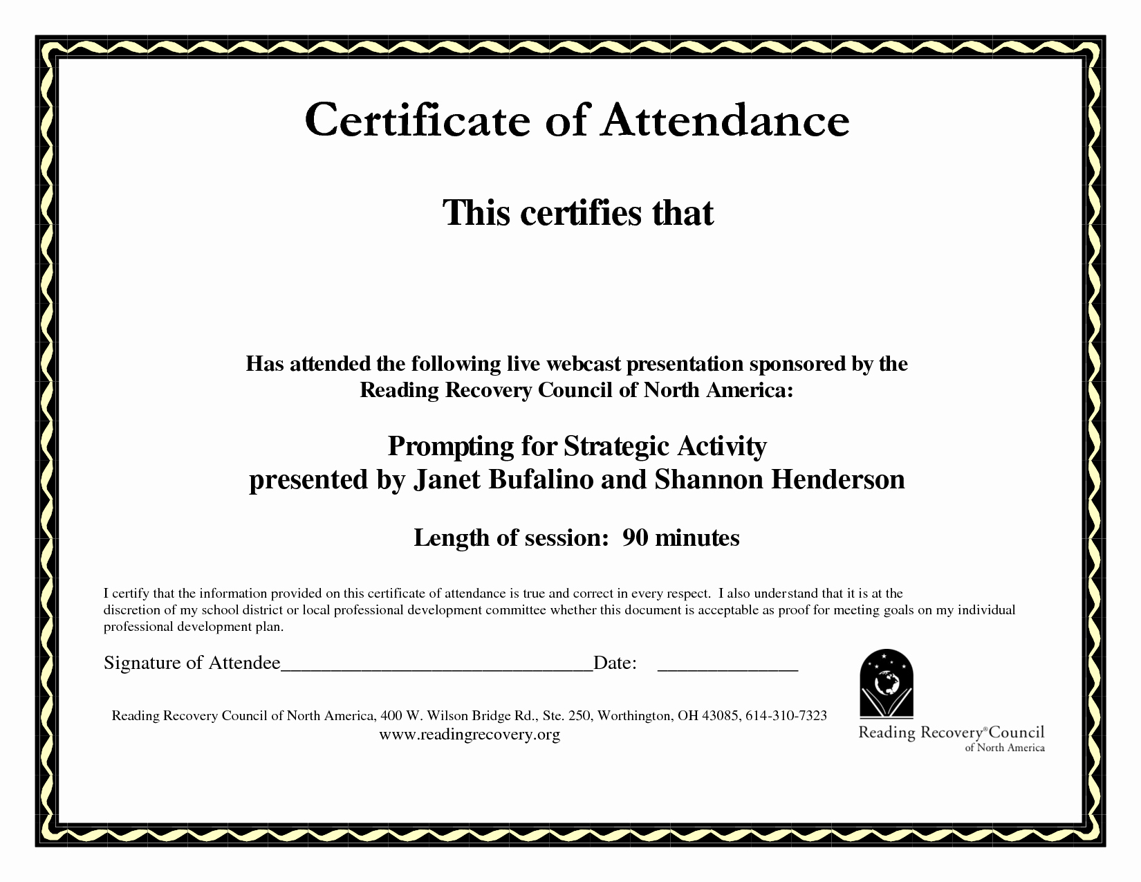 Certificate Of attendance Templates