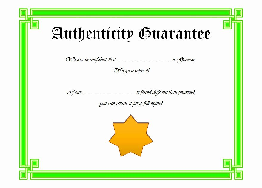 Certificate Of Authenticity Template 4 Ss – Best 10