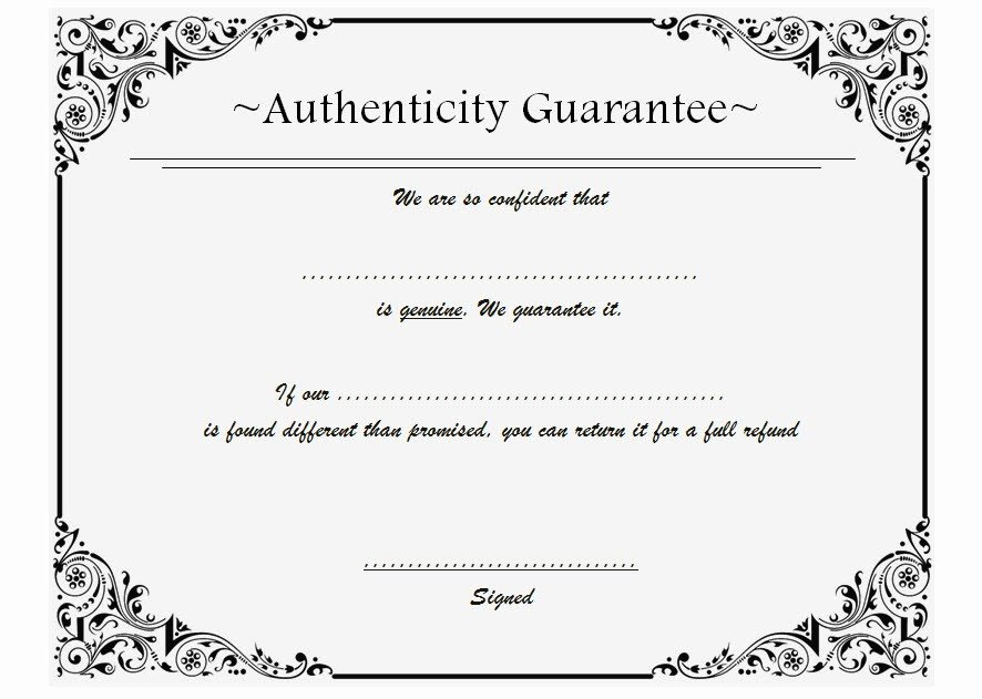 Certificate Of Authenticity Template 8 – the Best Template