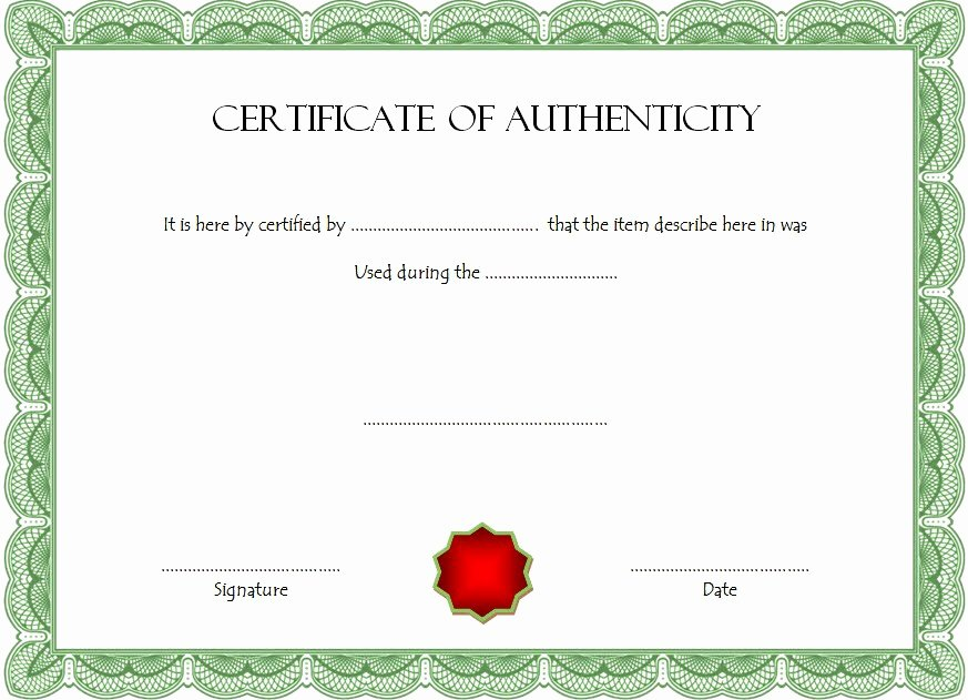 Certificate Of Authenticity Template Ss – Best 10