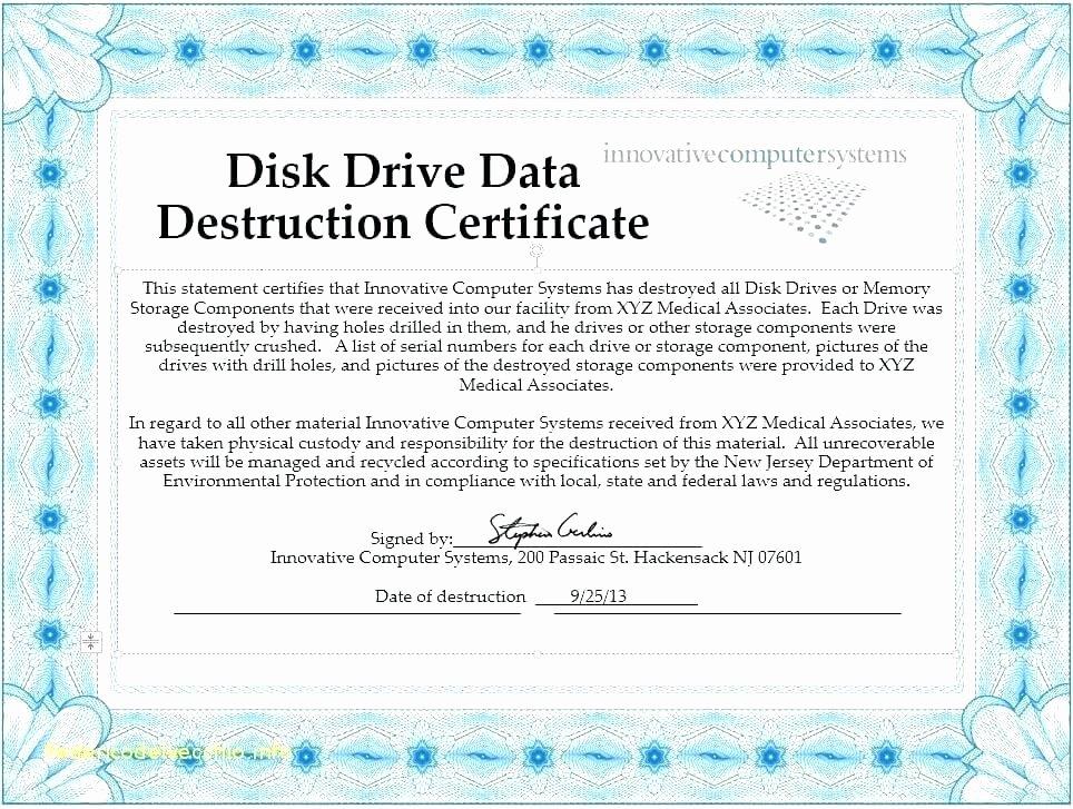 Certificate Of Data Destruction Template – Obconline