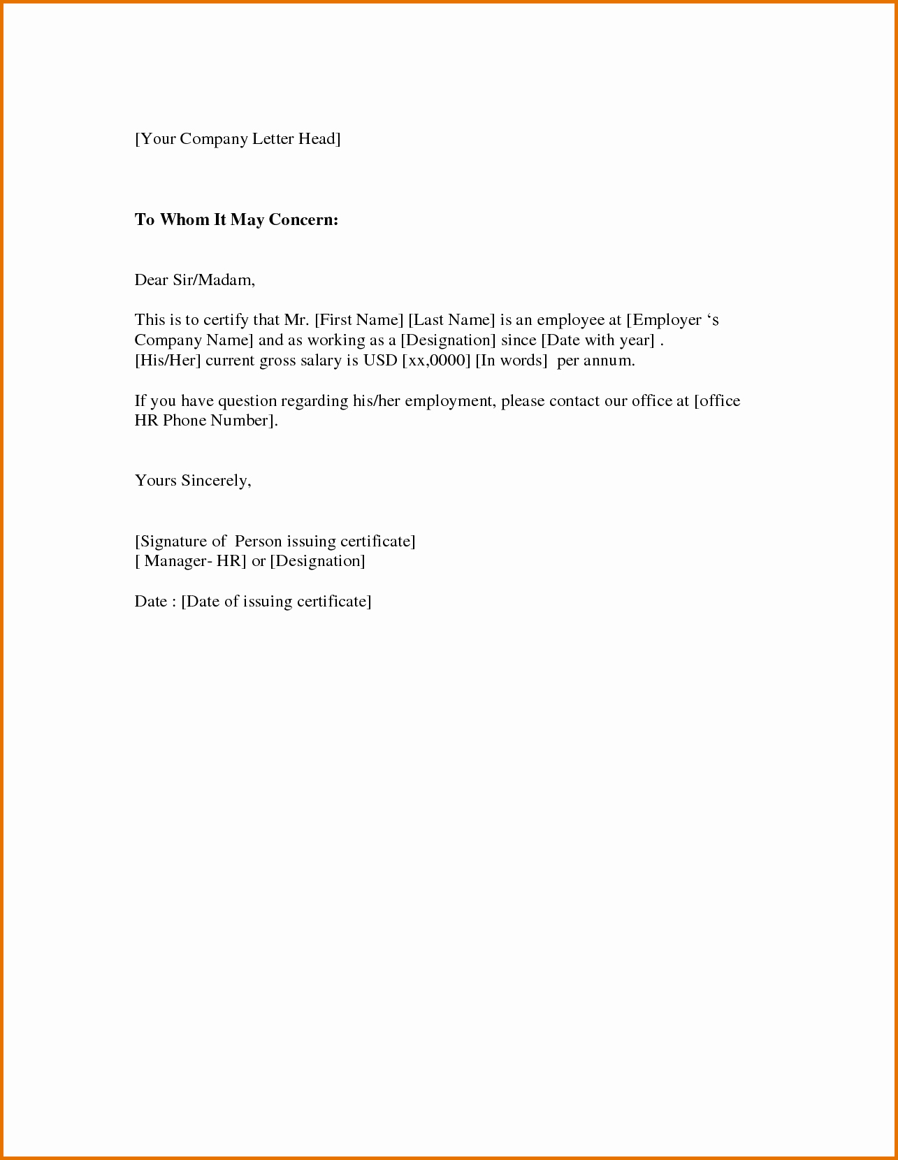 Certificate Of Employment Templatereference Letters Words