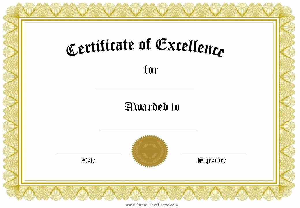 Certificate Of Excellence 1 040×720 Pixels