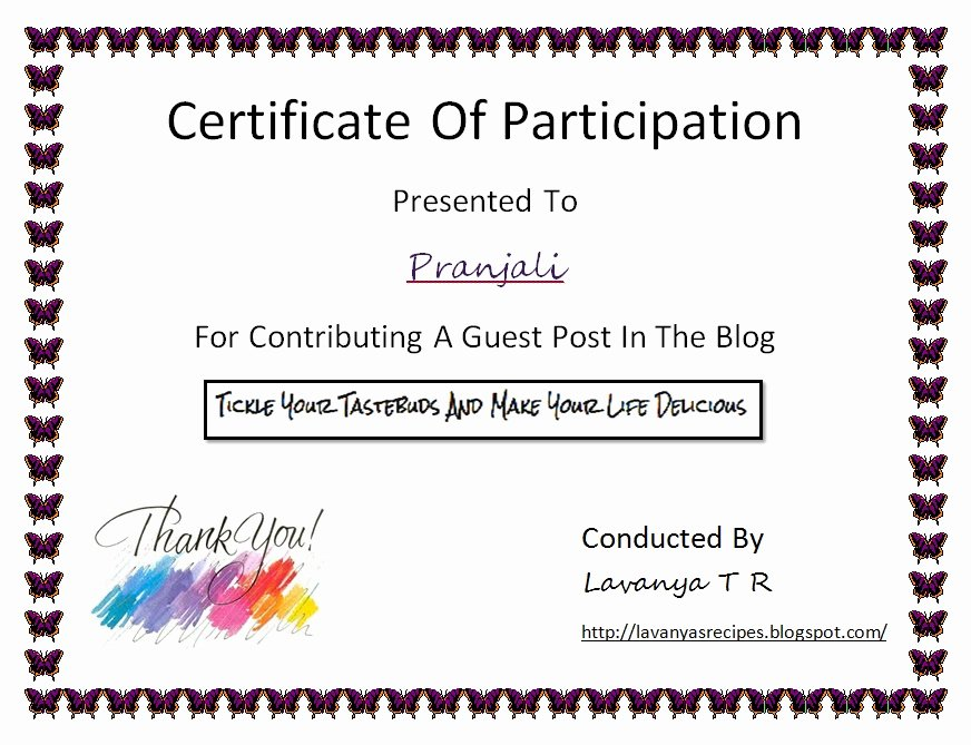 Certificate Of Participation Templates