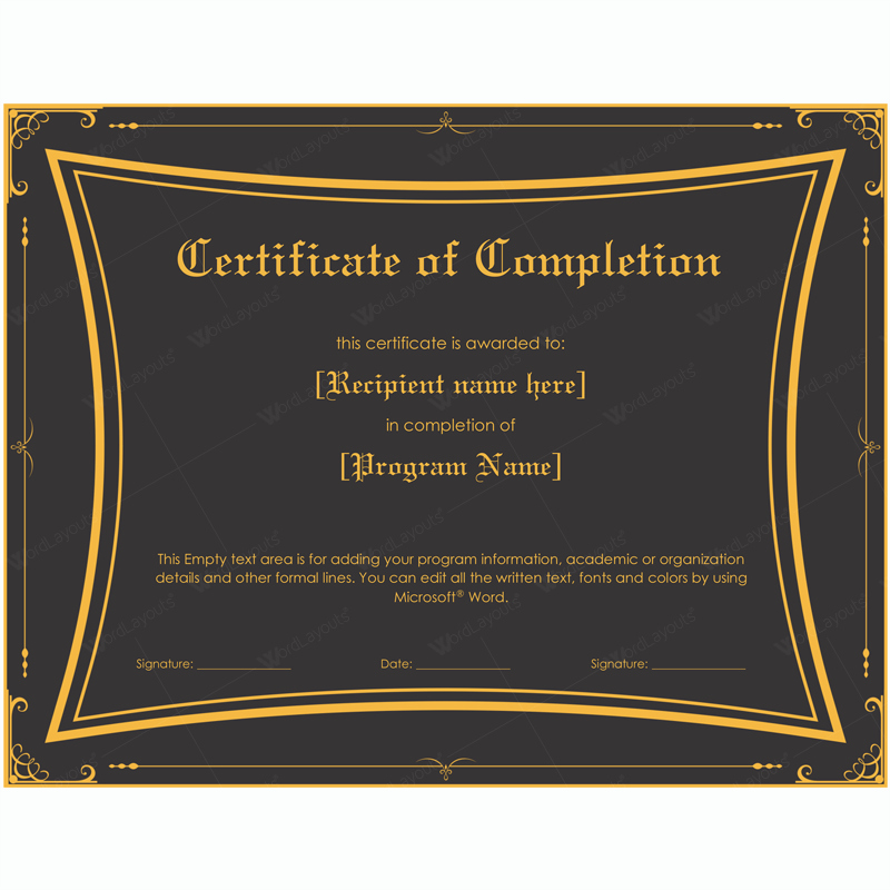 Certificate Of Pletion 06 Word Layouts