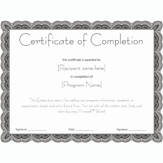 Certificate Of Pletion 20 Word Layouts