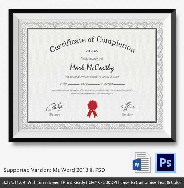 Certificate Of Pletion Template 31 Free Word Pdf