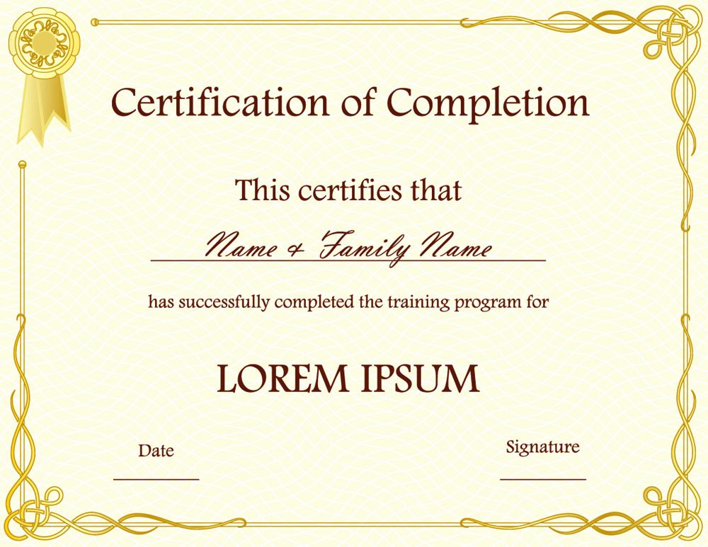 Certificate Of Pletion Template Psds