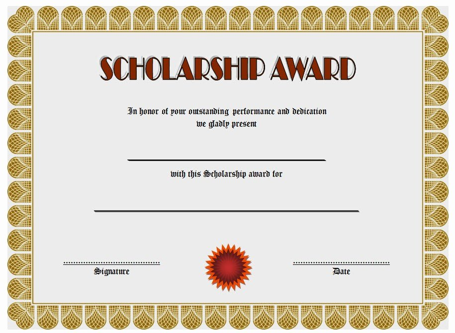 Certificate Of Scholarship 5 – the Best Template Collection