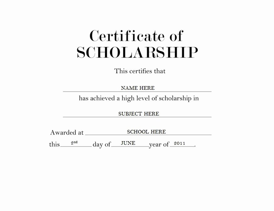 Certificate Of Scholarship Free Templates Clip Art
