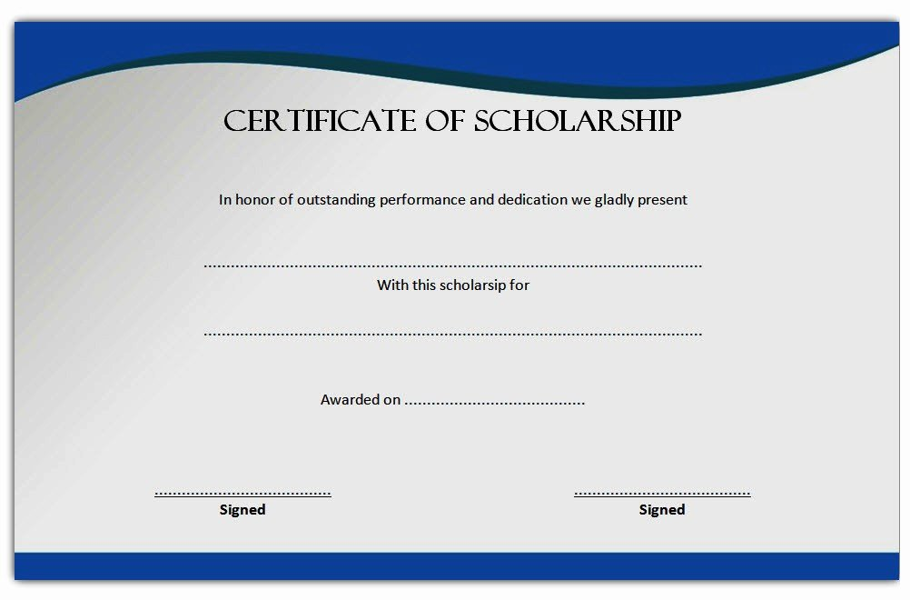 Certificate Of Scholarship – the Best Template Collection