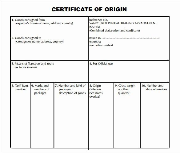 Certificate origin Template