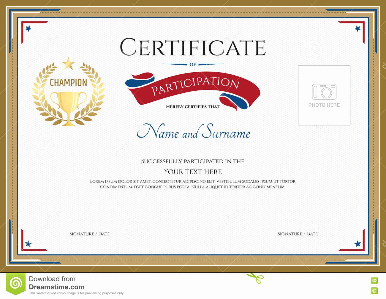 Certificate Participation Template Free Download