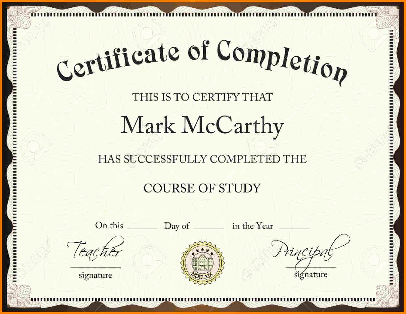 Certificate Pletion Template Free Download