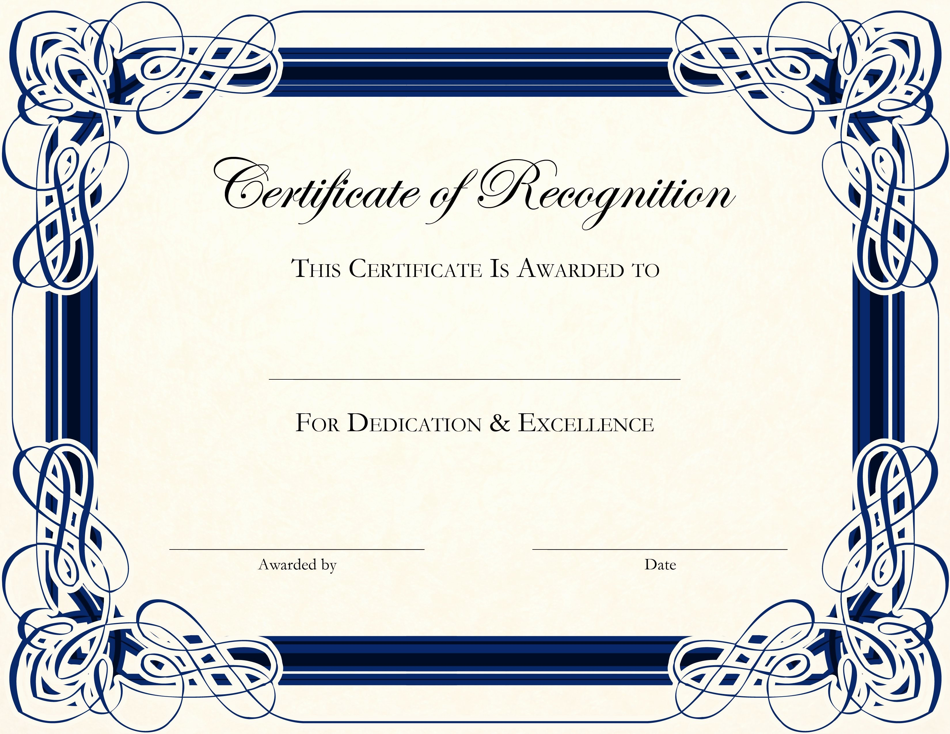 Certificate Recognition Editable Template