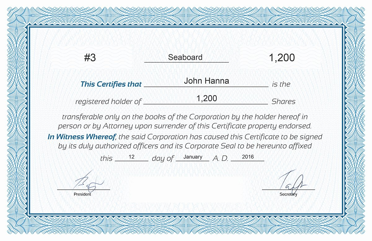 Certificate Stock Certificate Template