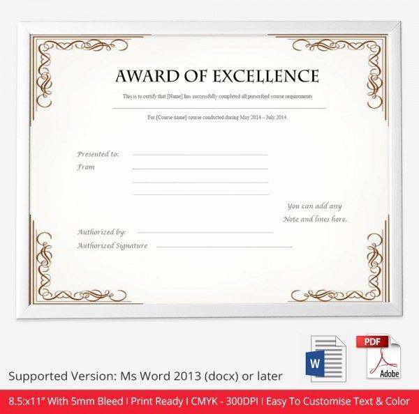 Certificate Template 50 Free Printable Word Excel Pdf