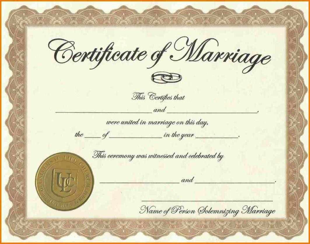 Certificate Templates Sample Marriage Certificates