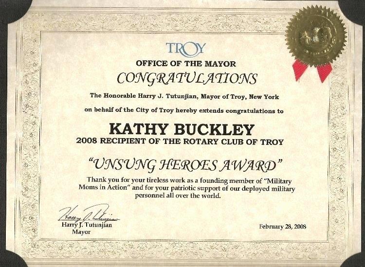 Certificates Presented to when She Was Given the Unsung