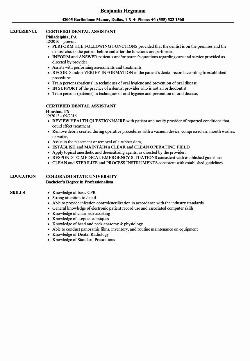 Certified Dental assistant Resume Samples