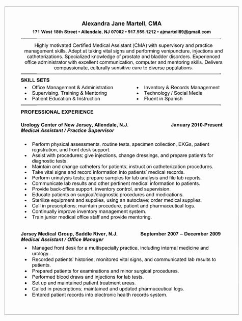 certified medical assistant cma resume summary sample include skill sets