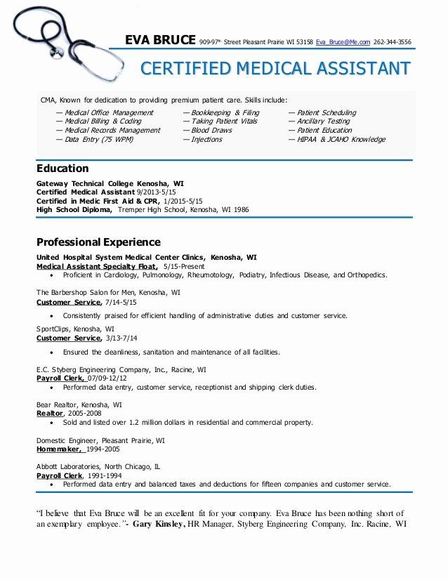 Certified Medical assistant Resume Eva Bruce
