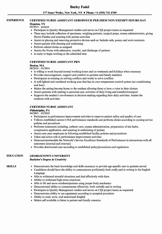 Certified Nurse assistant Resume Samples