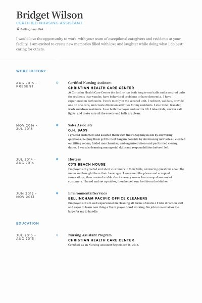 Certified Nursing assistant Resume Examples Best Resume