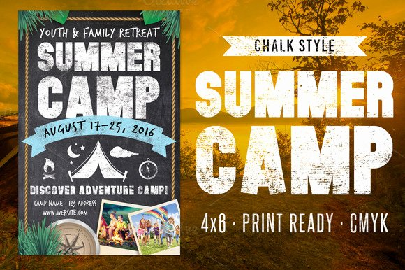 Chalk Summer Camp Flyer Flyer Templates On Creative Market