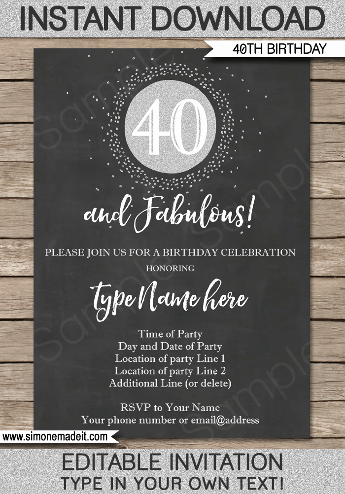 Chalkboard 40th Birthday Invitations Template