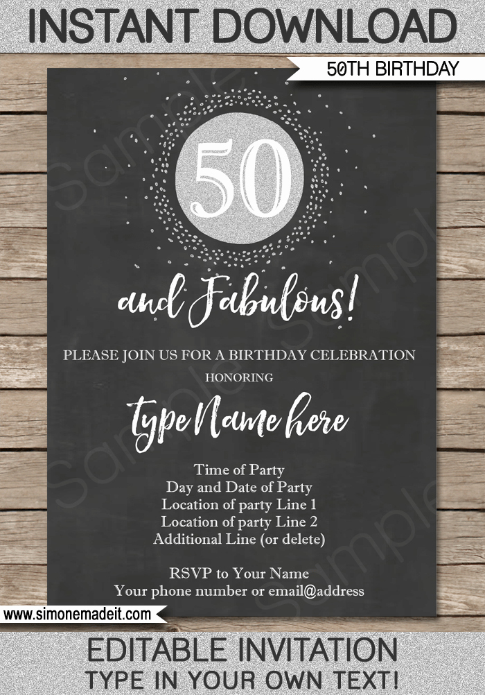 Chalkboard 50th Birthday Invitation Template