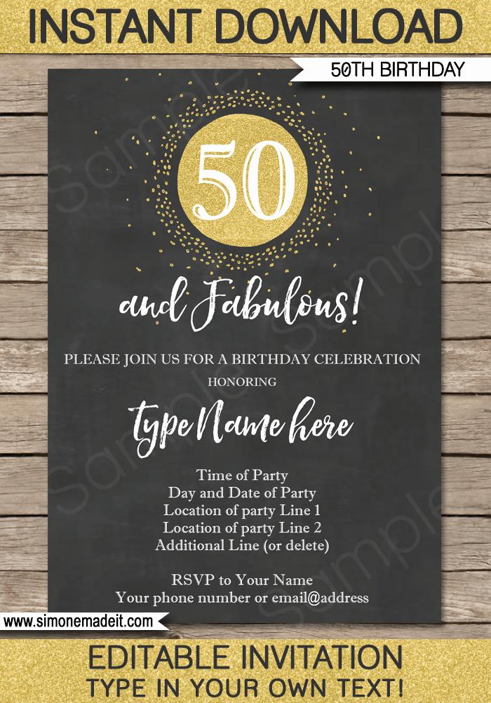 Chalkboard 50th Birthday Invitations Template