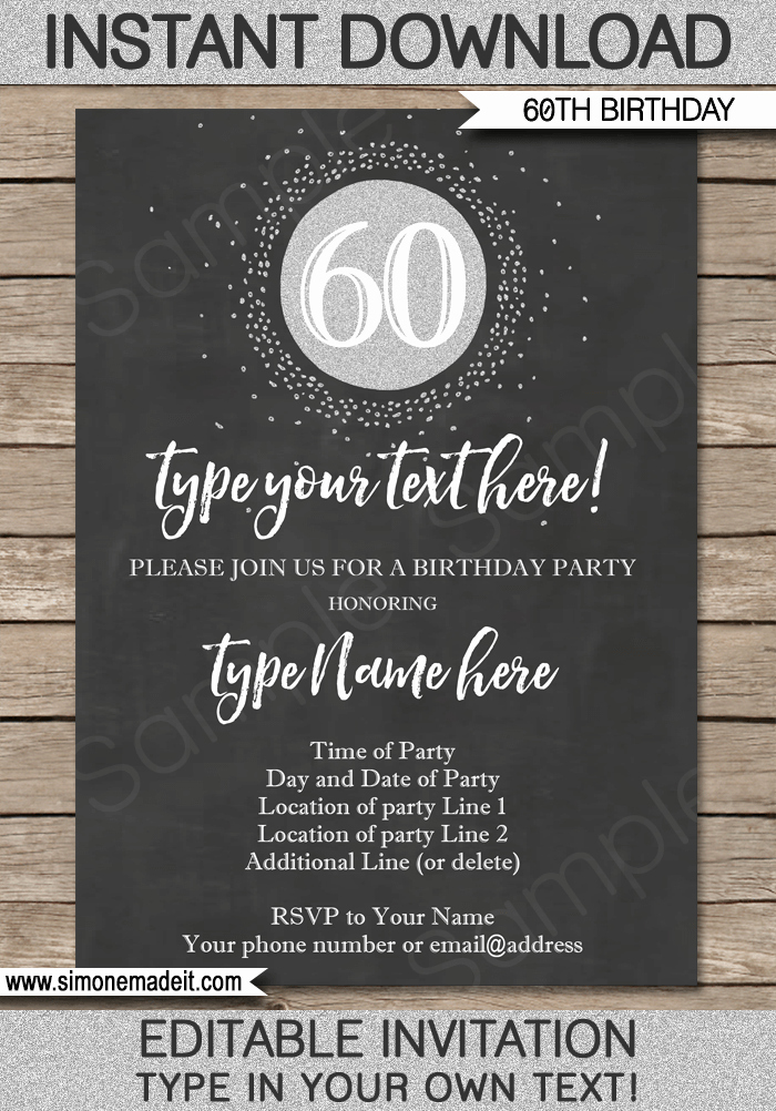 Chalkboard 60th Birthday Invitation Template