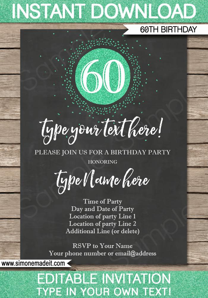 Chalkboard 60th Birthday Invitations Template