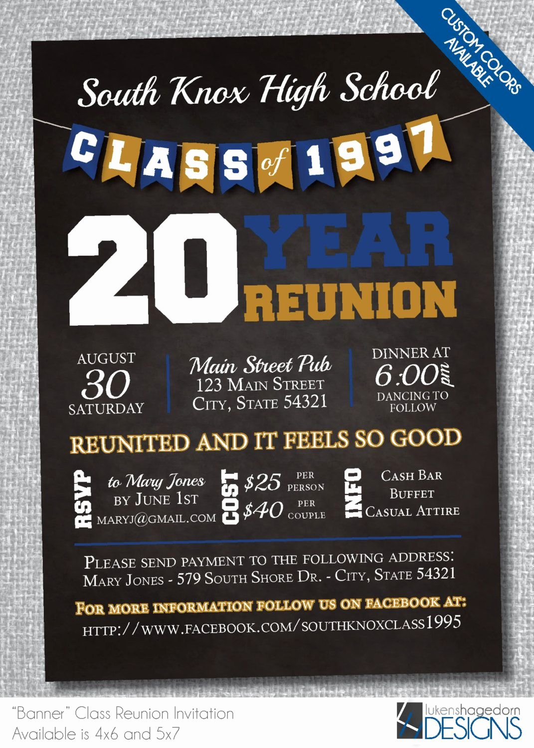 Chalkboard Class Reunion Invitation with Banner Digital