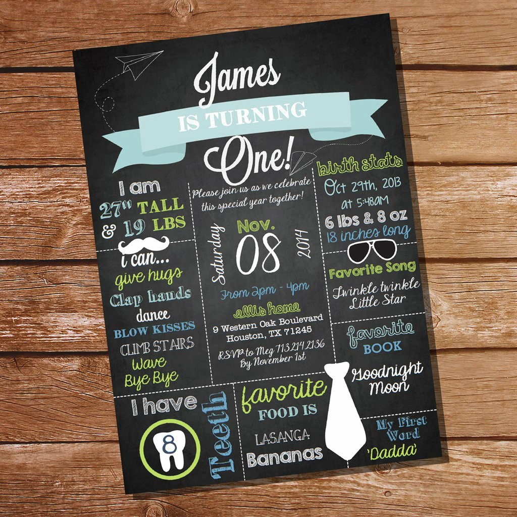 Chalkboard First Birthday Party Invitation