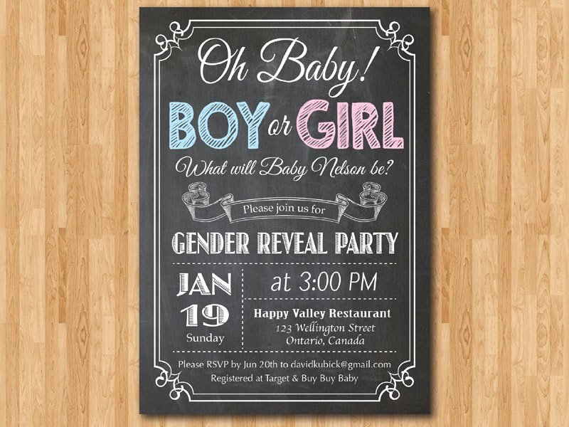 Chalkboard Gender Reveal Invitation Baby Boy or Girl