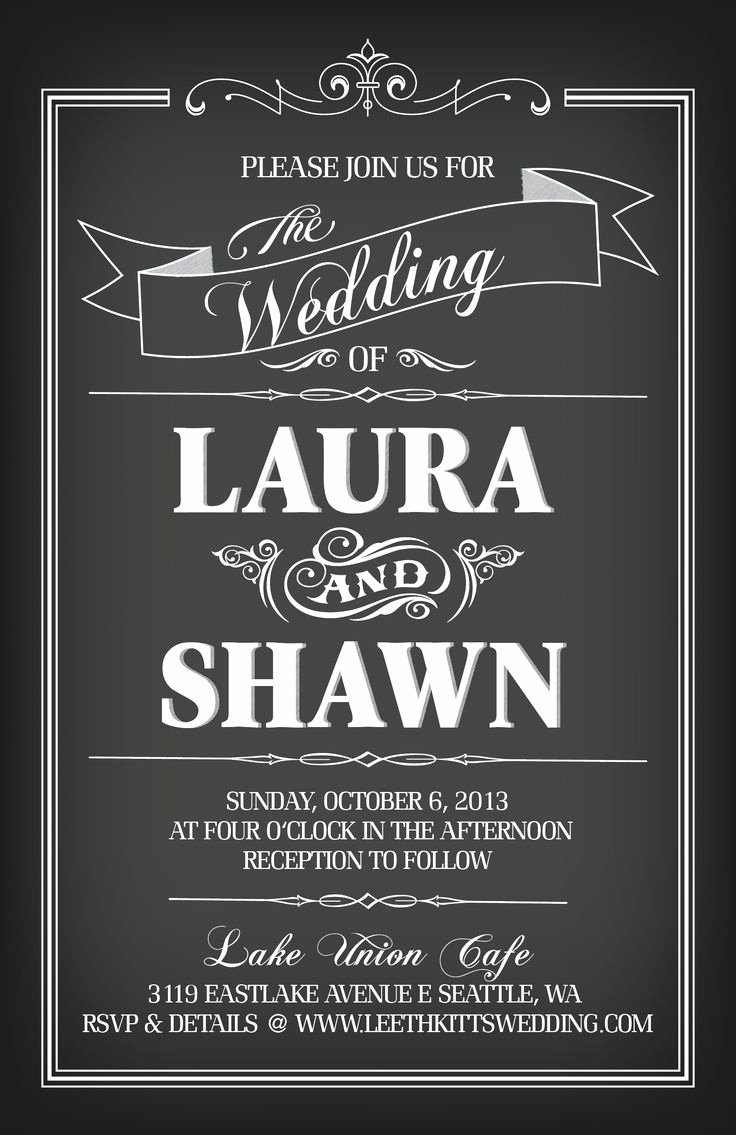 Chalkboard Invitation Template Chalkboard Wedding