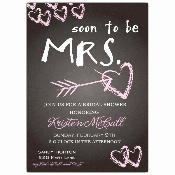Chalkboard Love Bridal Shower Invitations
