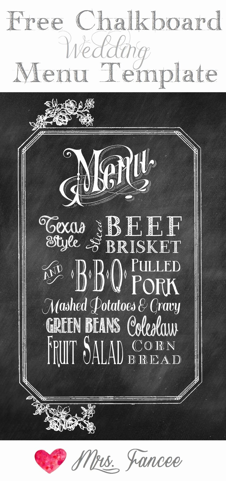 Chalkboard Wedding Menu Free Template