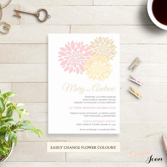 Champagne Pink Gold Wedding Invitation Template by